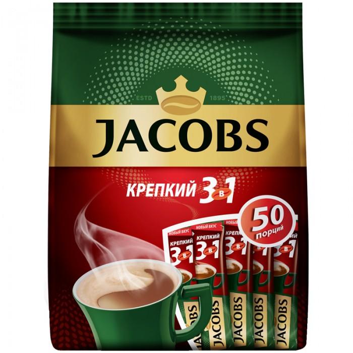 Jacobs Кофе растворимый Крепкий 3 в 1 порошкообразный 50 шт.