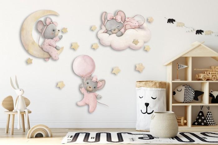 Детские наклейки Miaworkstudio Набор интерьерных наклеек Мышки девочки