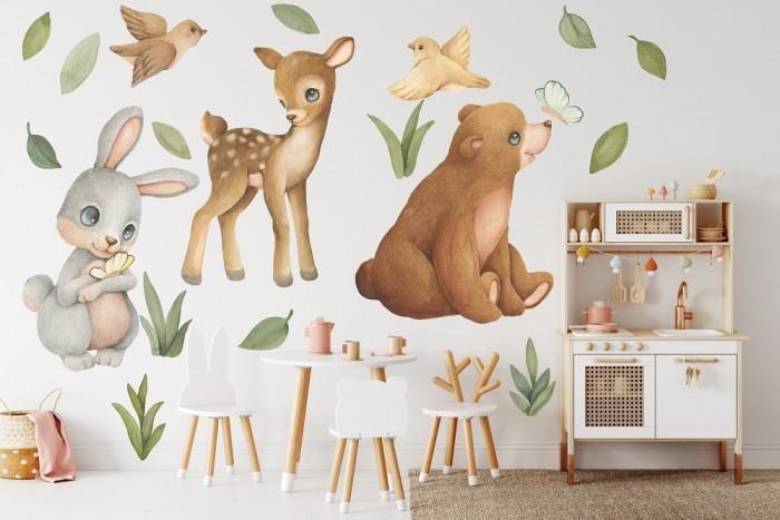 Купить Детские наклейки, Miaworkstudio Интерьерные наклейки Лесные звери