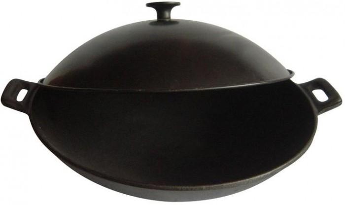 Купить Посуда и инвентарь, Mallony Сковорода Вок чугунная с металлической крышкой 31 см
