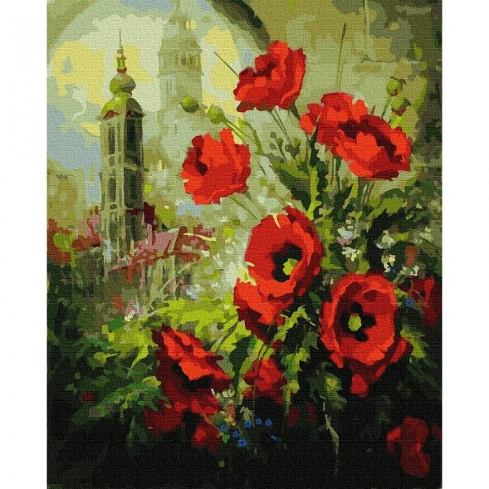 Картины по номерам Molly Картина по номерам Маки на фоне собора 40х50 см