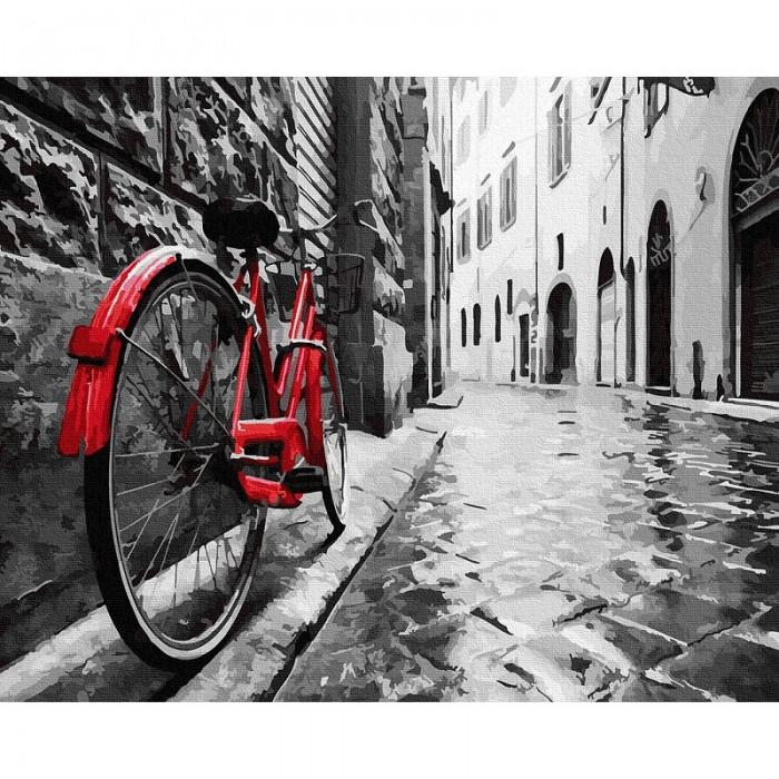 Картины по номерам Molly Картина по номерам Красный велосипед в старом городе 40х50 см