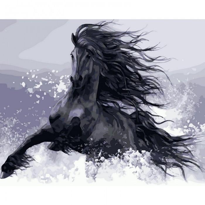 Картины по номерам Molly Картина по номерам Конь вороной 40х50 см