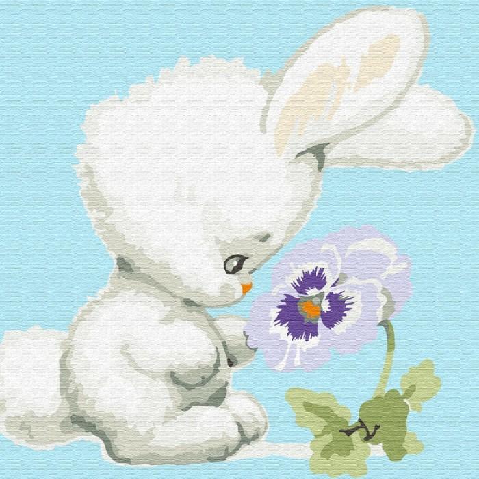Картины по номерам Molly Картина по номерам Зайчонок с цветком 20х20 см картины по номерам molly картина по номерам лошадка с бантиком 20х20 см