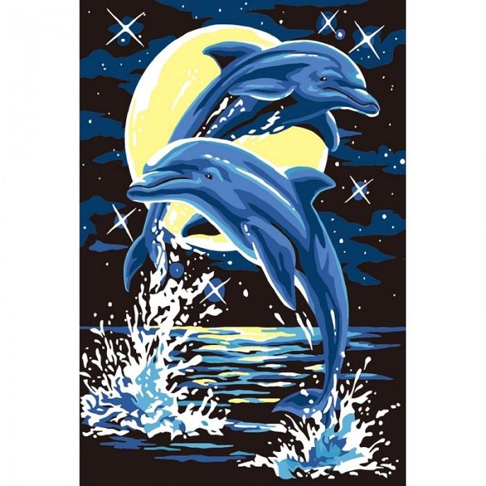 Картины по номерам Molly Картина по номерам Лунные дельфины 20х30 см