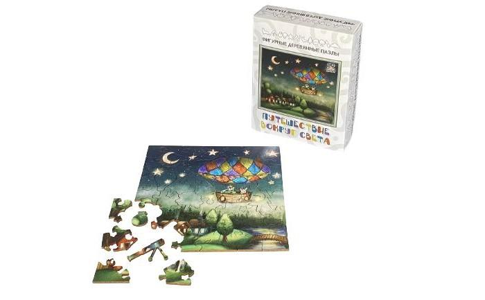 Деревянные игрушки Нескучные Игры Фигурный пазл Путешествие вокруг света (50 элементов)