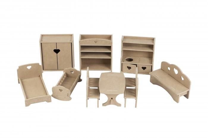 Кукольные домики и мебель PeMa Kids Комплект мебели без окрашивания для кукол 15-20 см