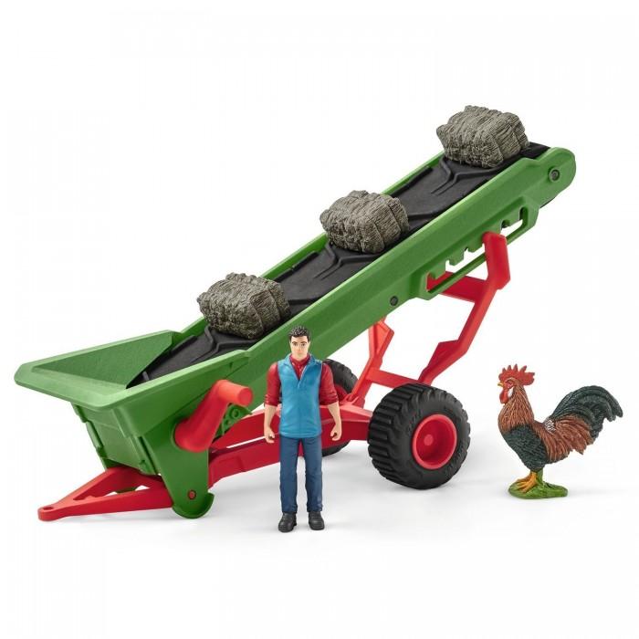 Игровые наборы Schleich Игровой набор Фермер и прицеп-конвеер для сена
