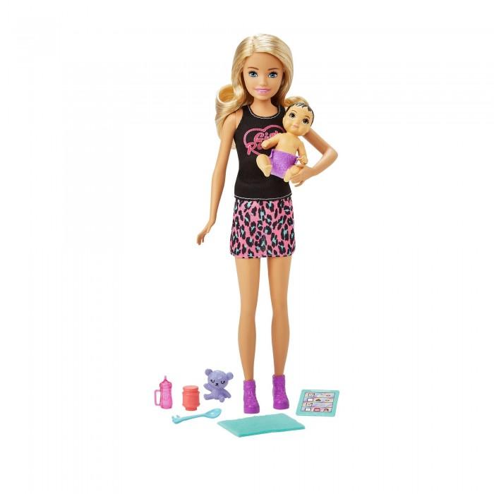 Фото - Куклы и одежда для кукол Barbie Кукла Няня в лосинах с малышом и аксессуарами кукла mattel barbie скиппер няня в клетчатой юбке с малышом и аксессуарами grp11