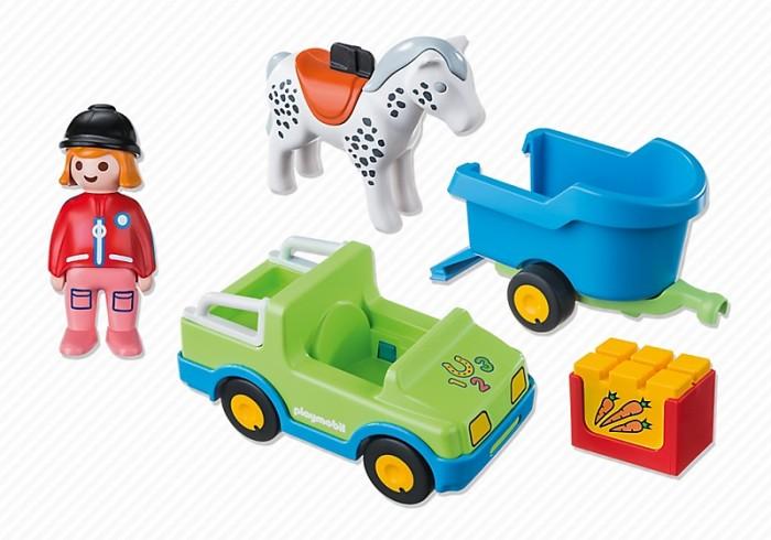 Конструкторы Playmobil 1.2.3. Автомобиль с коневозкой игровой набор playmobil ферма пони пикник с коневозкой