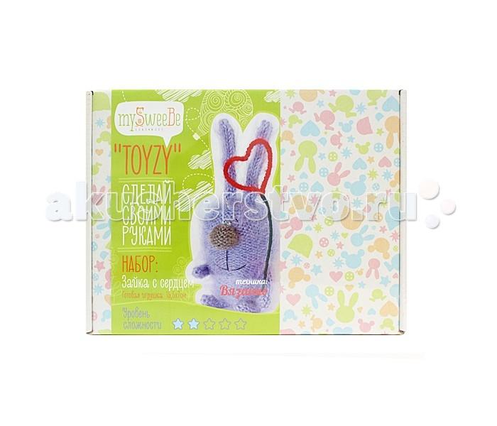 Наборы для творчества ToyzyKit Набор для вязания Зайка с сердцем пряжа для вязания alize sal abiye цвет бордовый 390 410 м 100 г 5 шт