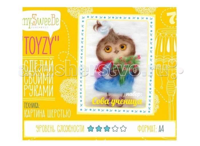 Картины своими руками ToyzyKit Картина шерстью Сова-ученица toyzykit картина шерстью сова в костюме панды