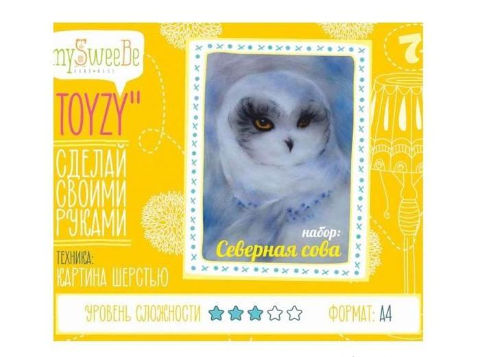 Картины своими руками ToyzyKit Картина шерстью Северная сова toyzykit картина шерстью сова в костюме панды