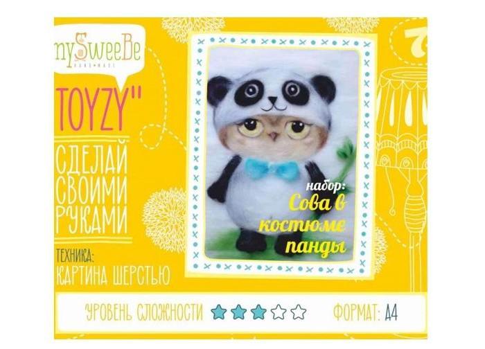 Картины своими руками ToyzyKit Картина шерстью Сова в костюме панды toyzykit картина шерстью сова в костюме панды