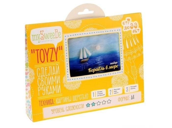 Картины своими руками ToyzyKit Картина шерстью Корабль в море toyzykit картина шерстью сова в костюме панды