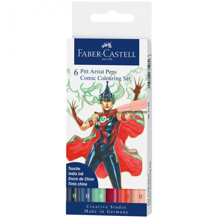 Канцелярия Faber-Castell Набор капиллярных ручек Pitt Artist Pens Comic Colouring Brush 6 шт.