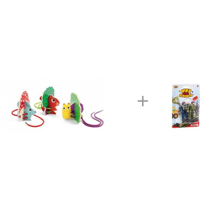 Купить Деревянные игрушки, Деревянная игрушка Djeco Шнуровка дуо и Мир micro Yako игрушек Набор игровой Военный с 2 солдатиками
