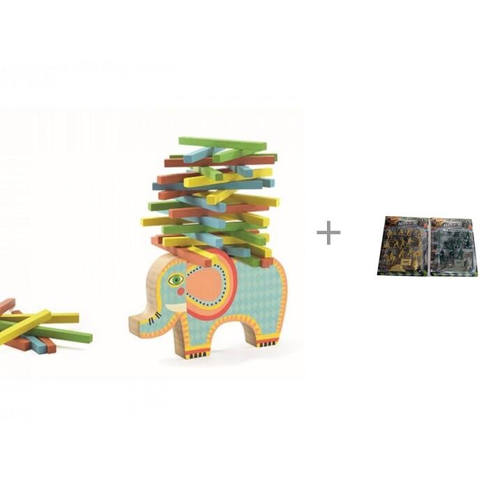 Деревянные игрушки, Деревянная игрушка Djeco Игра-балансир Слонёнок и Набор Without Военный  - купить со скидкой