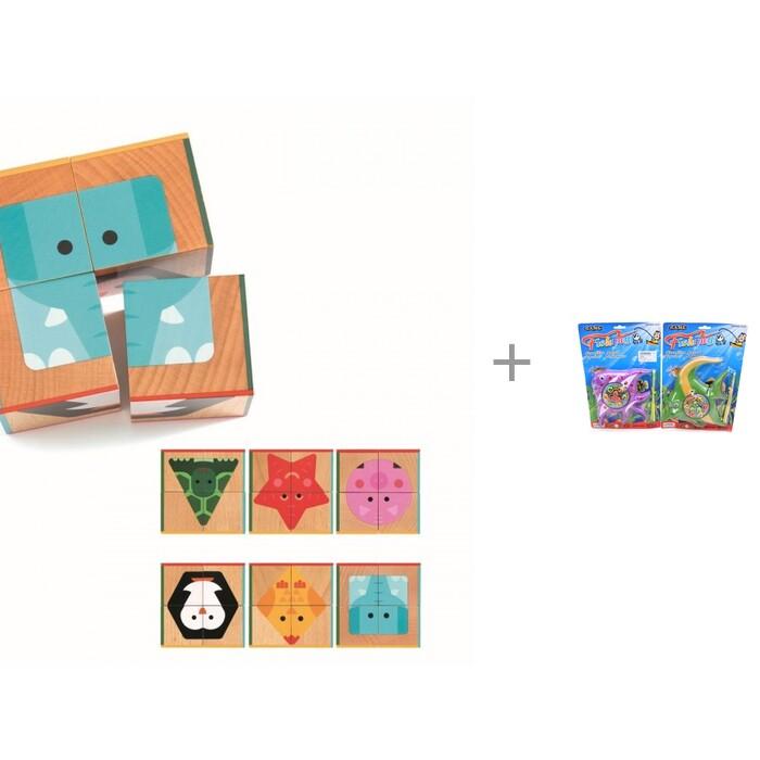 Купить Деревянные игрушки, Деревянная игрушка Djeco Кубики Животные 4 шт. и Игровой набор Наша Игрушка Рыбалка