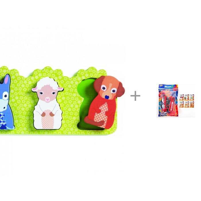 Купить Деревянные игрушки, Деревянная игрушка Djeco Рамка-вкладыш Розали и Игровой набор Yako Пожарный