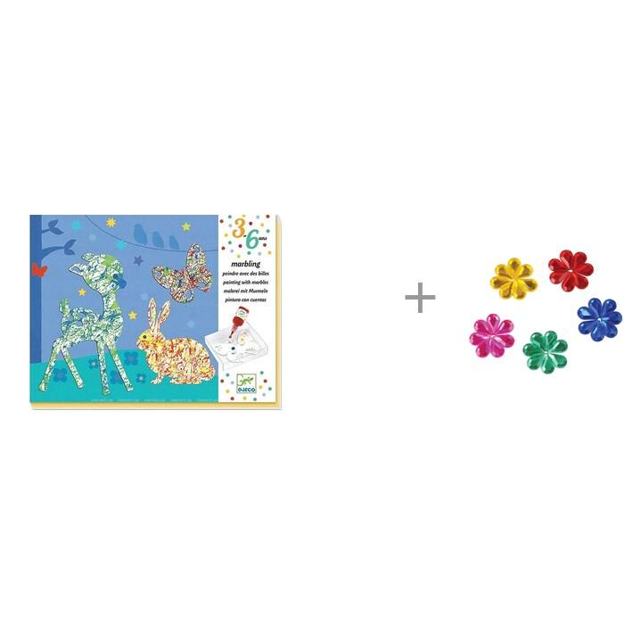 Картинка для Наборы для творчества Djeco Набор для творчества Разноцветный парад и Стразы самоклеящиеся Остров сокровищ Капля