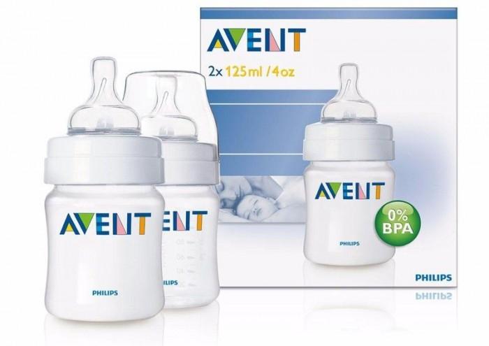 Бутылочки Philips Avent для кормления Classic + 2 шт. 125 мл бутылочки nurtria для кормления 2 шт 240 мл