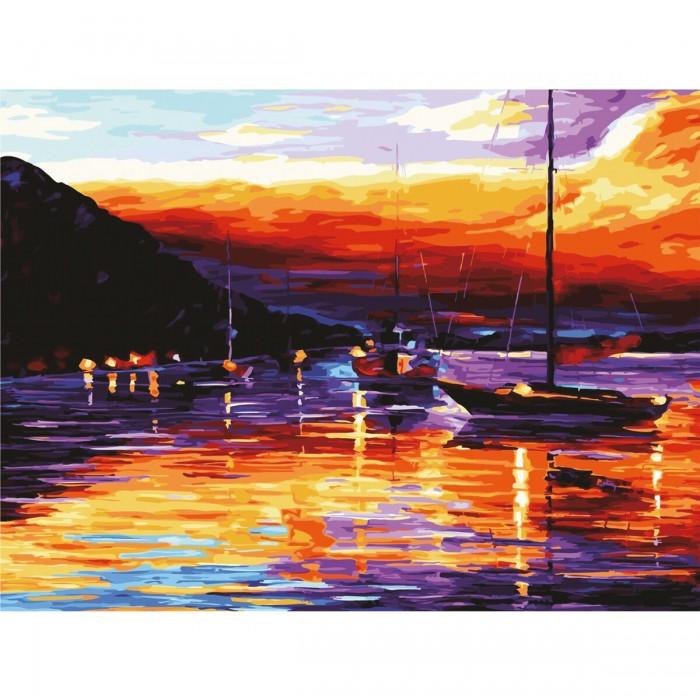 Картины по номерам Остров Сокровищ Картина по номерам Гавань на закате 40х50 см