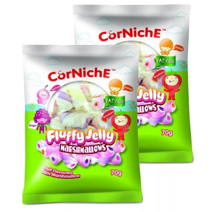 Зефир и пастила CorNiche Маршмеллоу с фруктовым желе Fluffy Jelly Marshmallow 70 г 2 шт. маршмеллоу corniche teddy яблоко 70 г