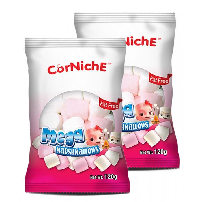 Зефир и пастила CorNiche Маршмеллоу большие Mega Marshmallow бело-розовые 120 г 2 шт. маршмеллоу corniche teddy яблоко 70 г