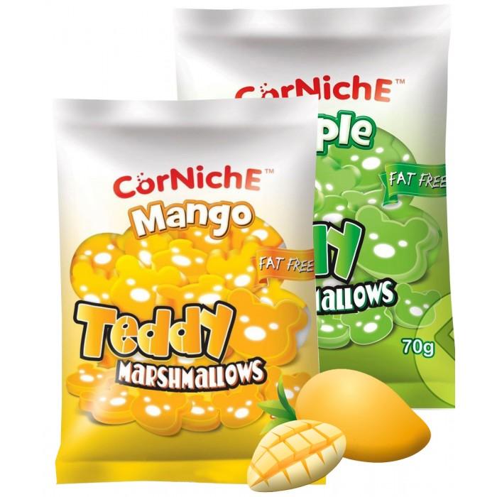 Зефир и пастила CorNiche Маршмеллоу со вкусом яблока и манго Teddy Marshmallow 70 г 2 шт. зефир и пастила corniche маршмеллоу большие mega marshmallow бело розовые 120 г 2 шт