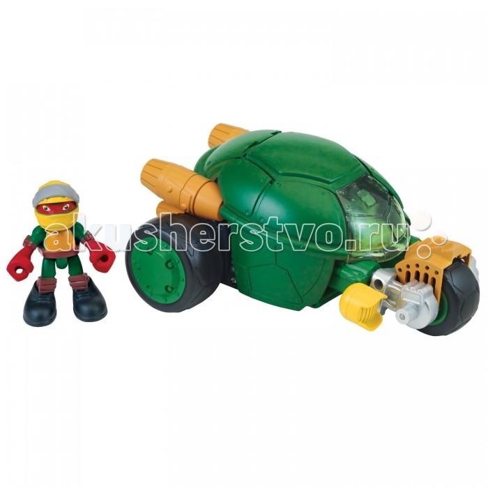 Turtles Фигурка Черепашки-ниндзя Раф с мотоциклом-стелс Half Shell HerФигурка Черепашки-ниндзя Раф с мотоциклом-стелс Half Shell HerTurtles Фигурка Черепашки-ниндзя Раф с мотоциклом-стелс Half Shell Hero станет прекрасным дополнением уже имеющейся коллекции любимых Черепашек Ниндзя вашего ребенка! Данная игрушка входит в серию Pre-Cool Half Shell Heroes, в которой можно найти самые удивительные игровые наборы.  Особенности: Трехколесное мощное транспортное средство с кабиной в виде панциря с откидным верхом имеет декоративные ускорители, прозрачное пластиковое стекло и переднее колесо на длинной оси.  Если нажать на часть защитного панциря, то колесо выедет вперед и трехколесный зверь вместе с Рафаэлем ринется защищать улицы от сил зла.  Высота фигурки: 7 см<br>