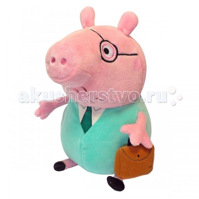 Мягкие игрушки Свинка Пеппа (Peppa Pig) Папа Свин с кейсом 30 см неваляшка папа свин peppa pig неваляшка папа свин