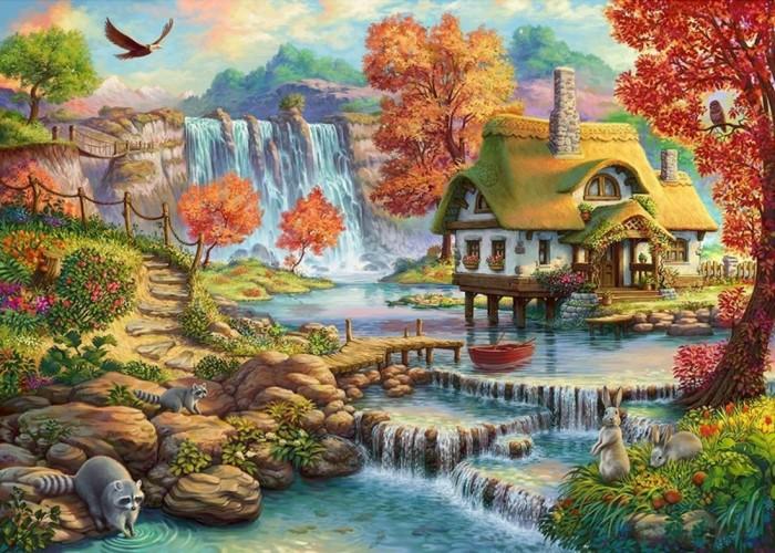 Картины по номерам Рыжий кот Роспись по холсту Домик у водопада 50х40 см