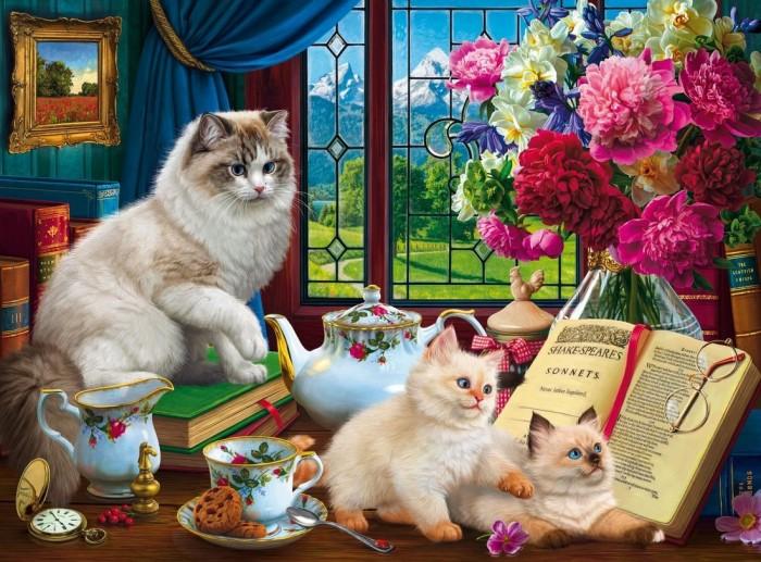 Картины по номерам Рыжий кот Роспись по холсту Котята и чайный сервиз 50х40 см