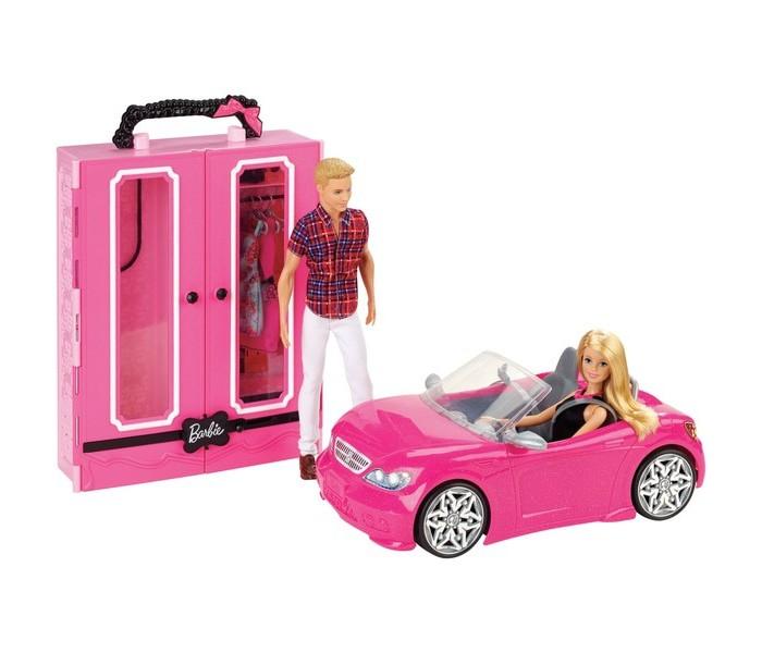 Картинка для Куклы и одежда для кукол Barbie Набор игровой Barbie и Кен с гардеробом и розовым кабриолетом