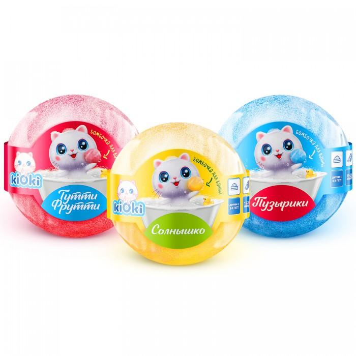 Косметика для мамы Kioki Набор соль для ванн Бурлящие шары Детские 3 шт. по 120 г