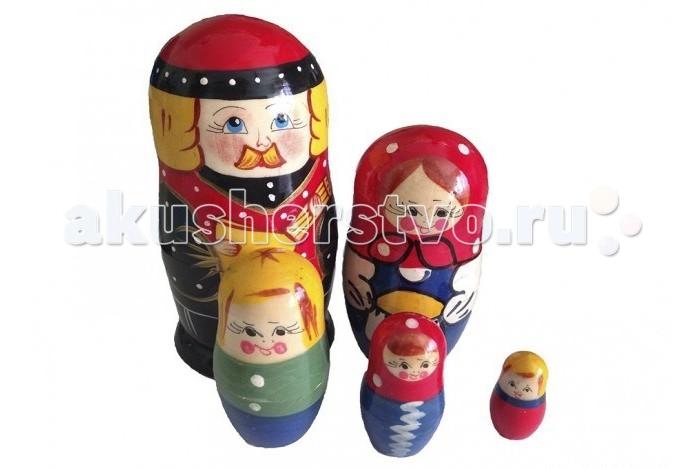 Деревянные игрушки RNToys Матрешка Семья батюшка 5 в 1 rntoys матрешка сказка курочка ряба 5 в 1