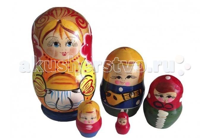 Деревянные игрушки RNToys Матрешка Семья матушка 5 в 1 rntoys матрешка сказка курочка ряба 5 в 1