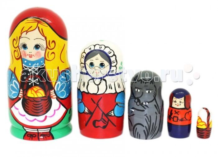 Деревянные игрушки RNToys Матрешка Сказка Красная Шапочка 5 в 1 rntoys матрешка сказка курочка ряба 5 в 1