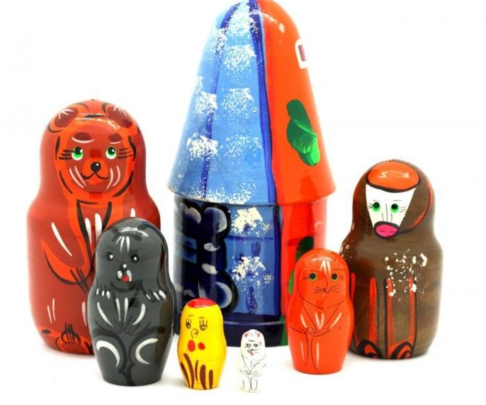 Деревянная игрушка RNToys Матрешка Сказка Лубяная избушка 7 в 1