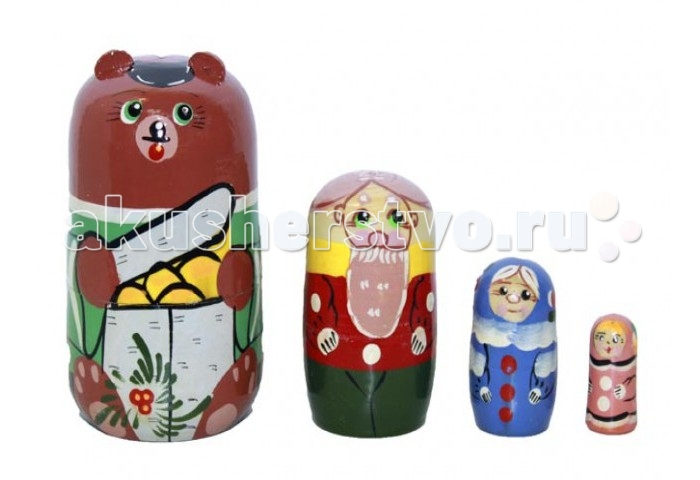 Деревянные игрушки RNToys Матрешка Сказка Маша и Медведь 4 в 1 rntoys матрешка сказка курочка ряба 5 в 1