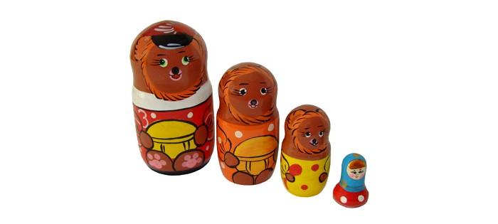Деревянные игрушки RNToys Матрешка Сказка Три медведя 4 в 1 rntoys матрешка сказка курочка ряба 5 в 1