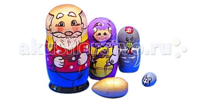 Деревянные игрушки RNToys Матрешка Сказка Курочка Ряба 5 в 1 rntoys матрешка сказка курочка ряба 5 в 1