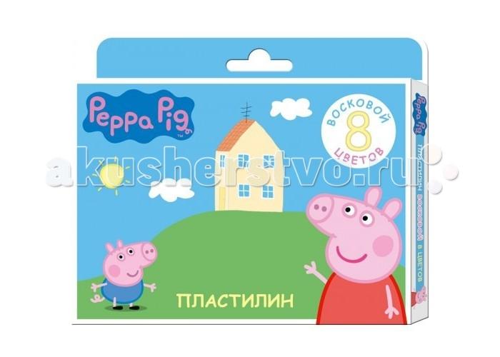 Всё для лепки Свинка Пеппа (Peppa Pig) Пластилин восковый 8 цветов цветная бумага 1 сторонняя 16 листов 8 цветовpeppa pig свинка пеппа
