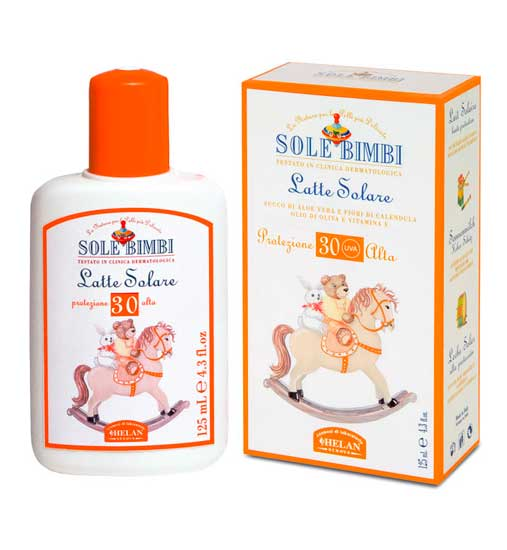 Гигиена и здоровье , Солнцезащитные средства Helan Солнцезащитное молочко Sole Bimbi SPF 30 125 мл арт: 11434 -  Солнцезащитные средства
