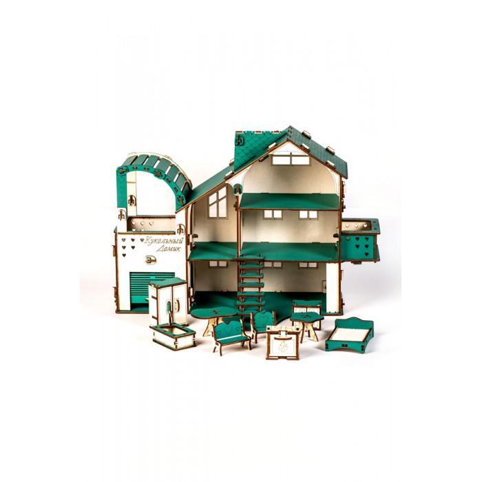 MyLandToys Домик кукольный в разборном виде с гаражем и мебелью