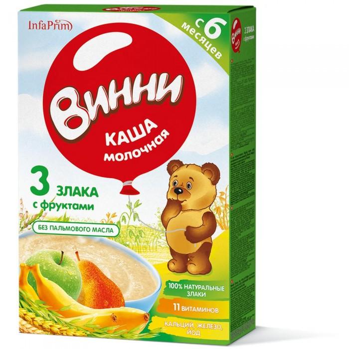 Каши Винни Каша молочная 3 злака с фруктами с 6 мес. 200 г bebi каша премиум 3 злака с яблоком и ромашкой для сладких снов с 6 мес