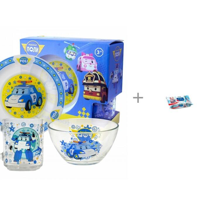 Посуда ND Play Набор стеклянной посуды Робокар Поли и Влажные салфетки Aura 120 шт.