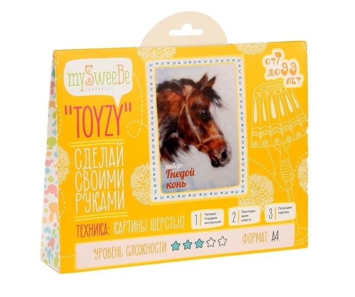 Картины своими руками ToyzyKit Картина шерстью Гнедой конь toyzykit картина шерстью сова в костюме панды