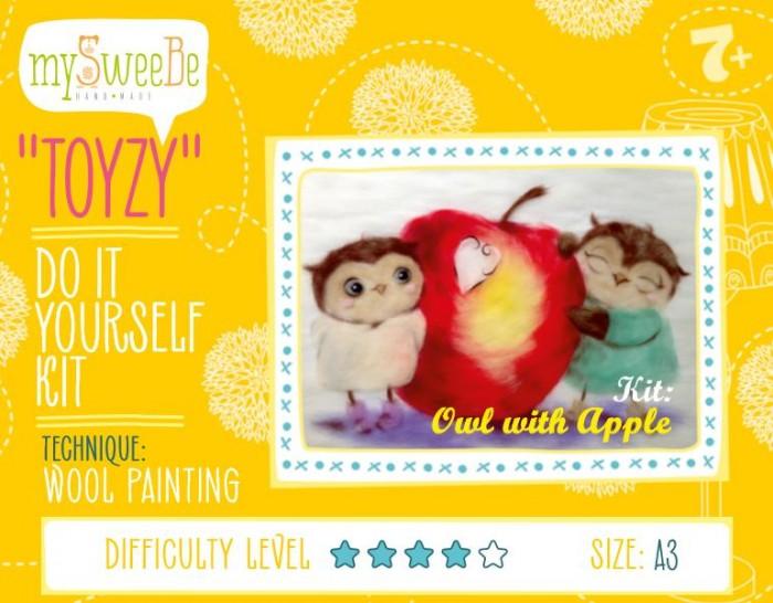 Картины своими руками ToyzyKit Картина шерстью Совушки с яблоком toyzykit картина шерстью сова в костюме панды